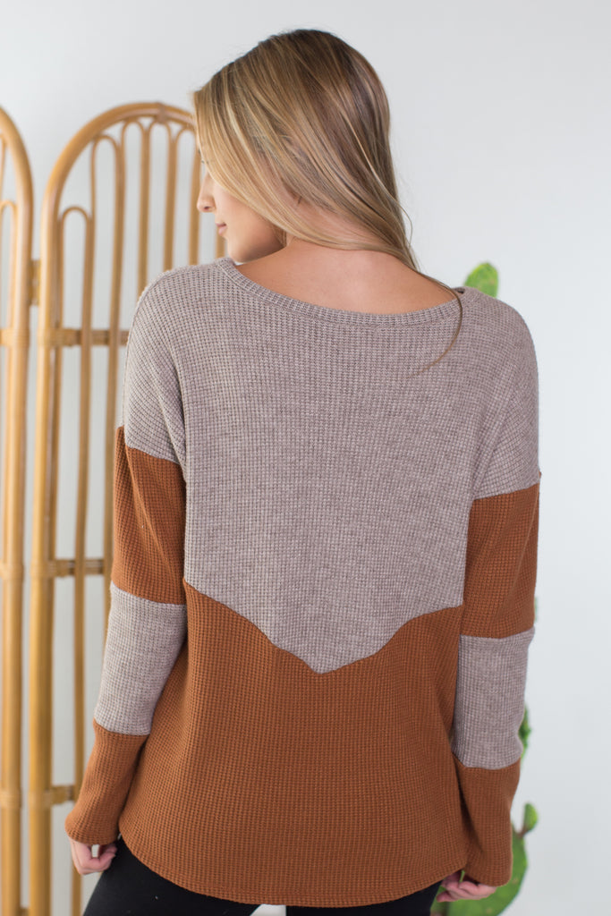 Pumpkin Spice Colorblock Top