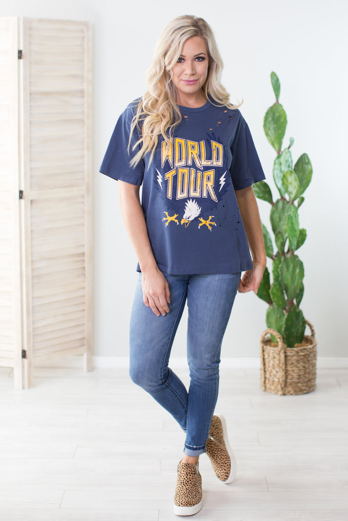 World Tour Distressed Graphic Tee