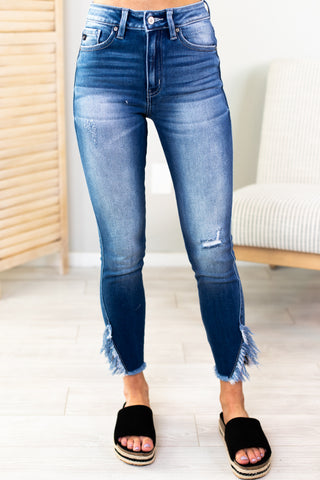 Gwen Mid Rise Distressed Kan Can Jeans