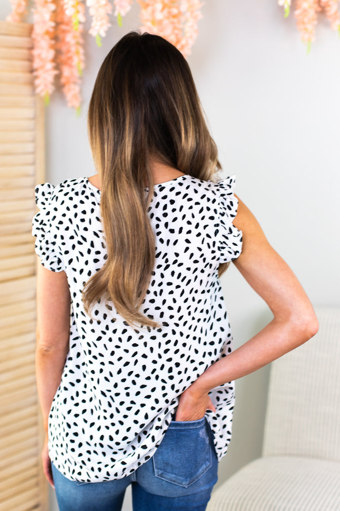 Windsor Dalmatian Print Sleeveless Staccato Top