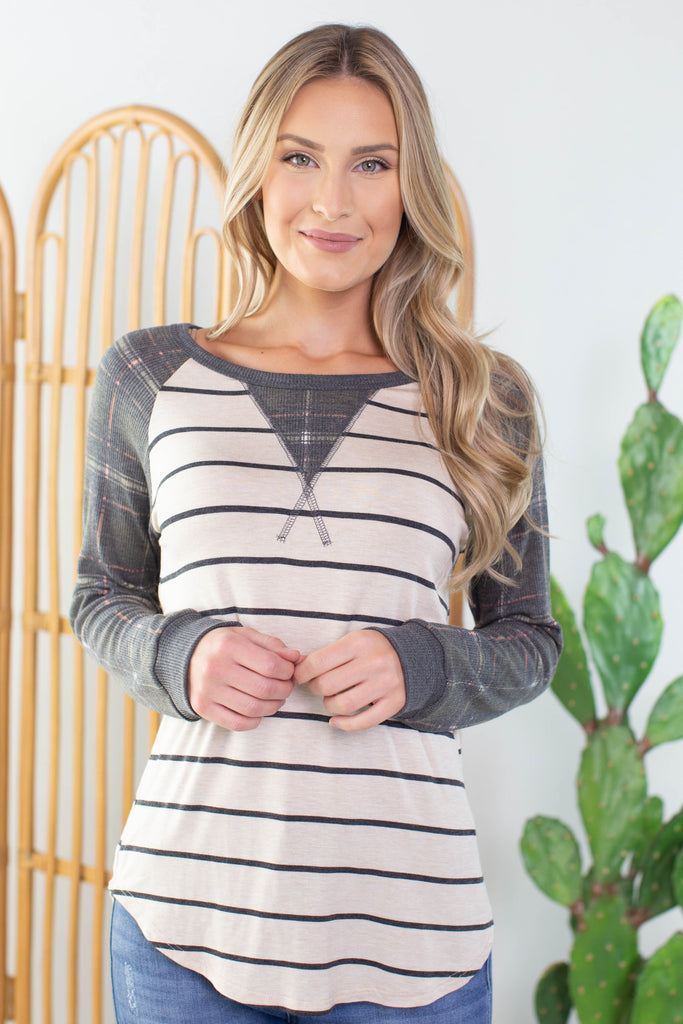 Cottage Plaid Striped Top