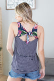Striped Floral Tie Tank