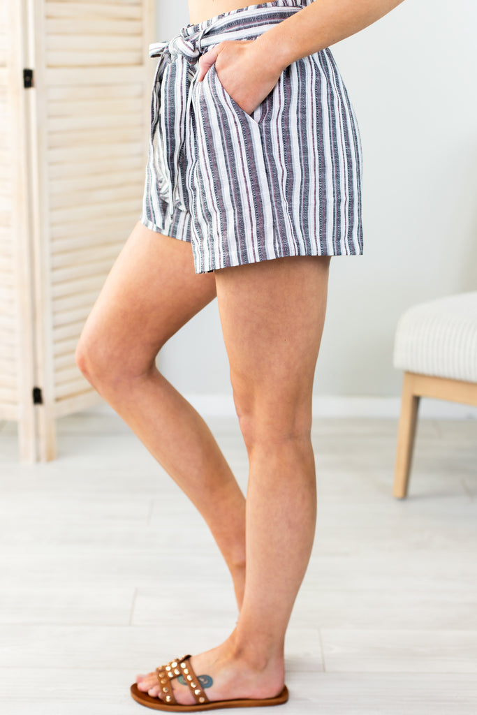 Striped Tie Waist Shorts