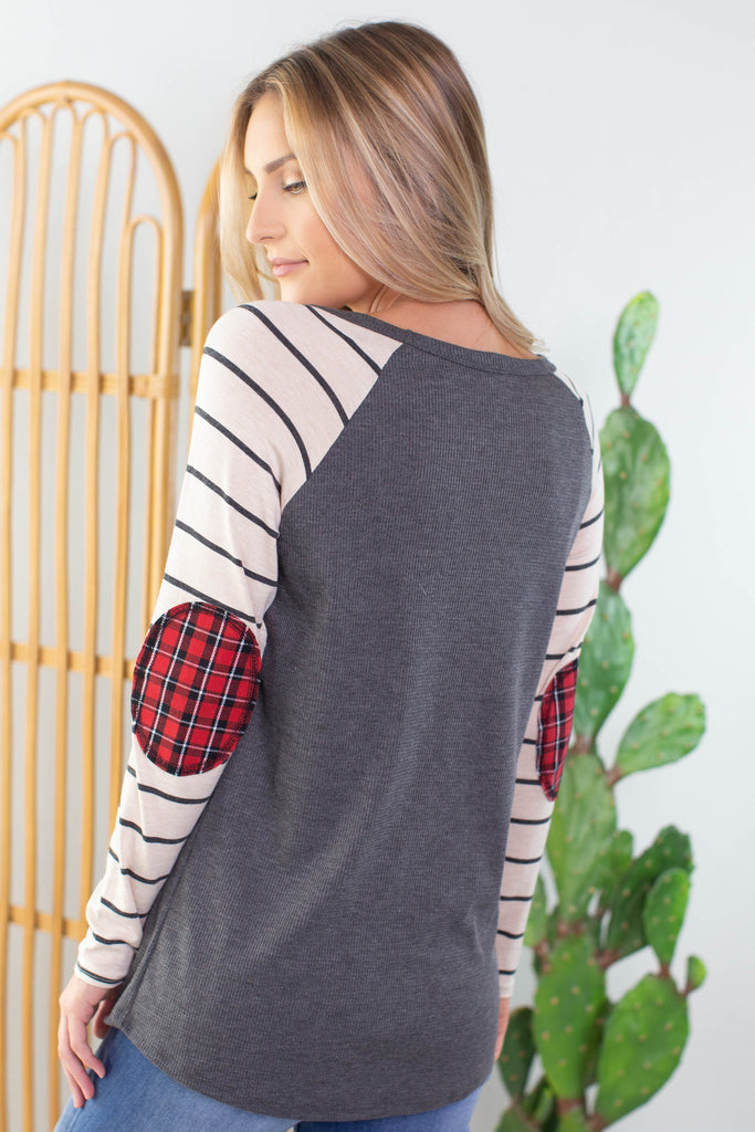 Autumn Comforts Plaid Elbow Patch Top