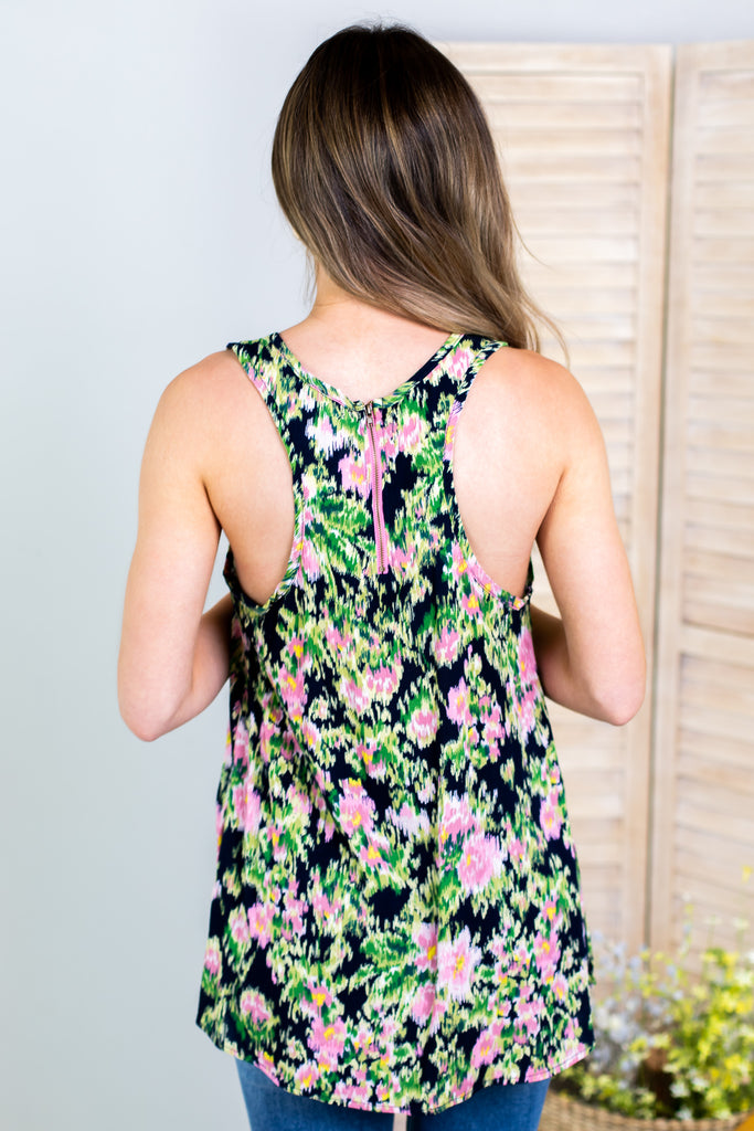 Waterlilies Zipper Accent Tank