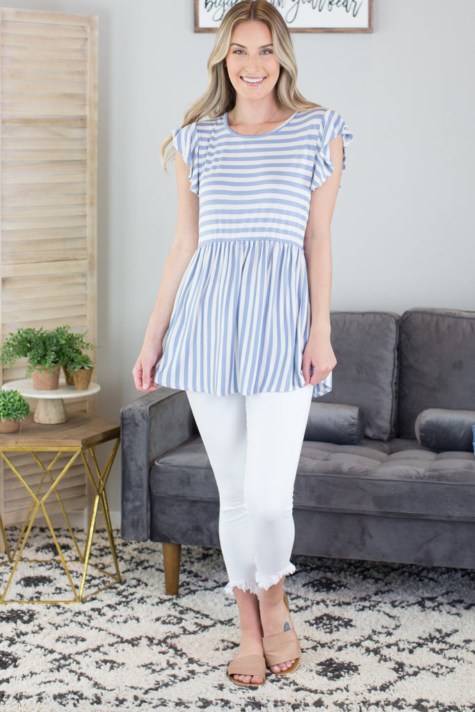 Annabelle Striped Ruffle Top
