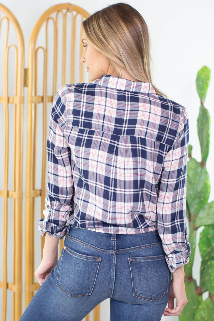 Lumberjack Tie Front Plaid Top - 2 Colors