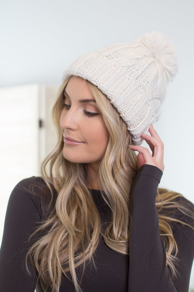 Snow Storm Cable Knit Beanie