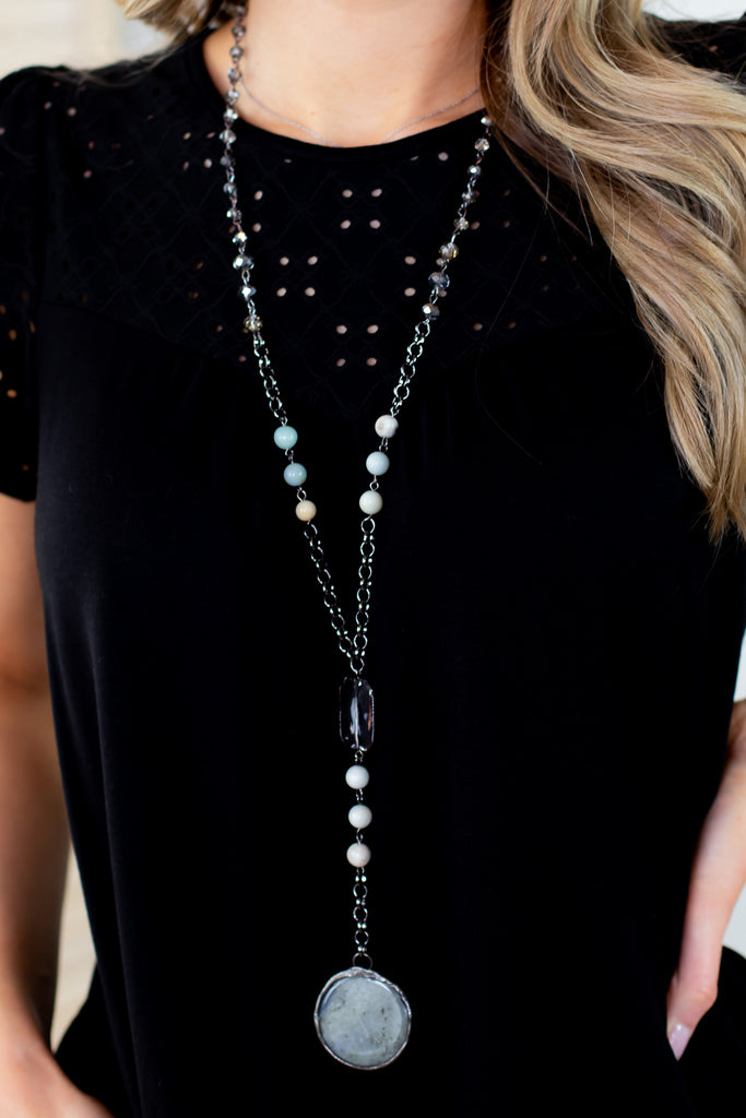 Beaded and Jeweled Circle Rock Necklace