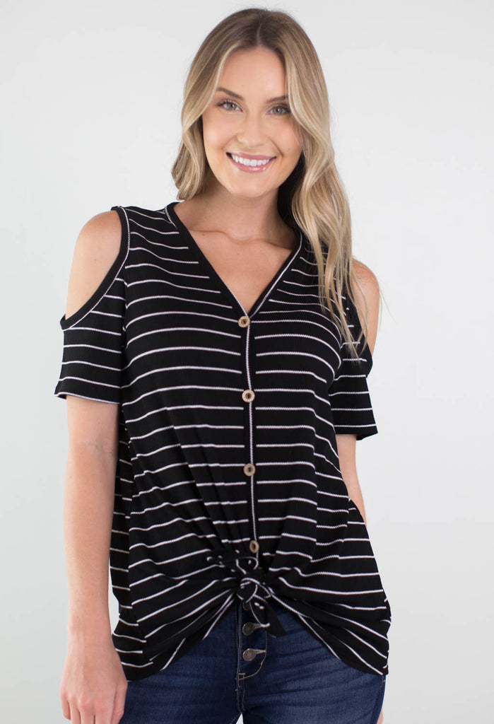 Faye Cold Shoulder Tie Top