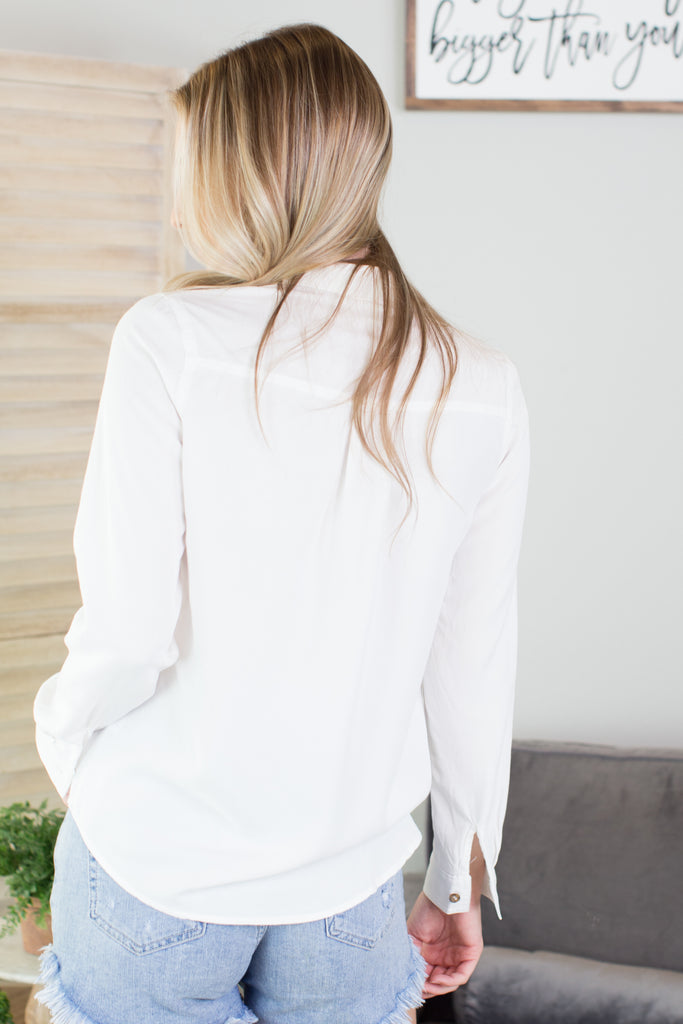 Button Down Basic Long Sleeve Top - 4 Colors