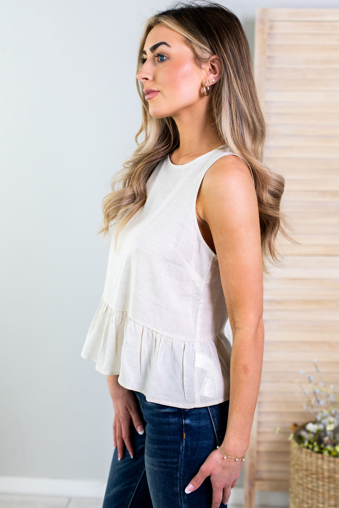 Sierra Sleeveless Peplum Top