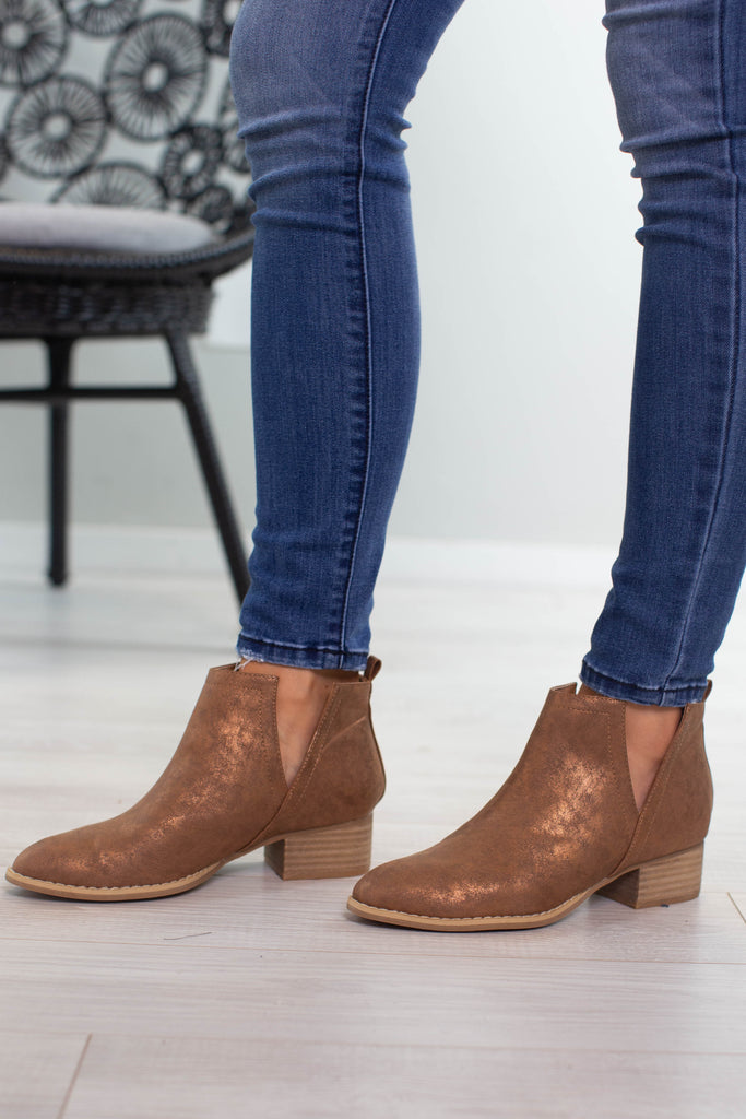 Whiskey Metallic Booties