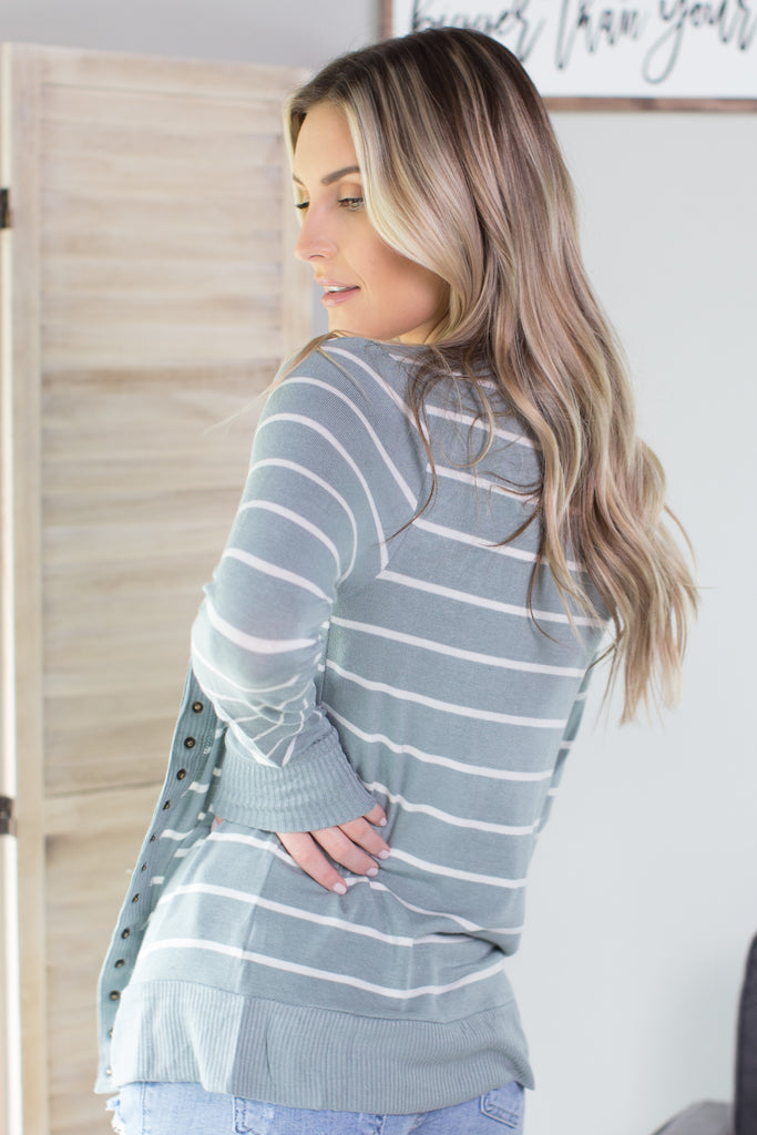 Striped Snap Button Cardigan - 4 Colors