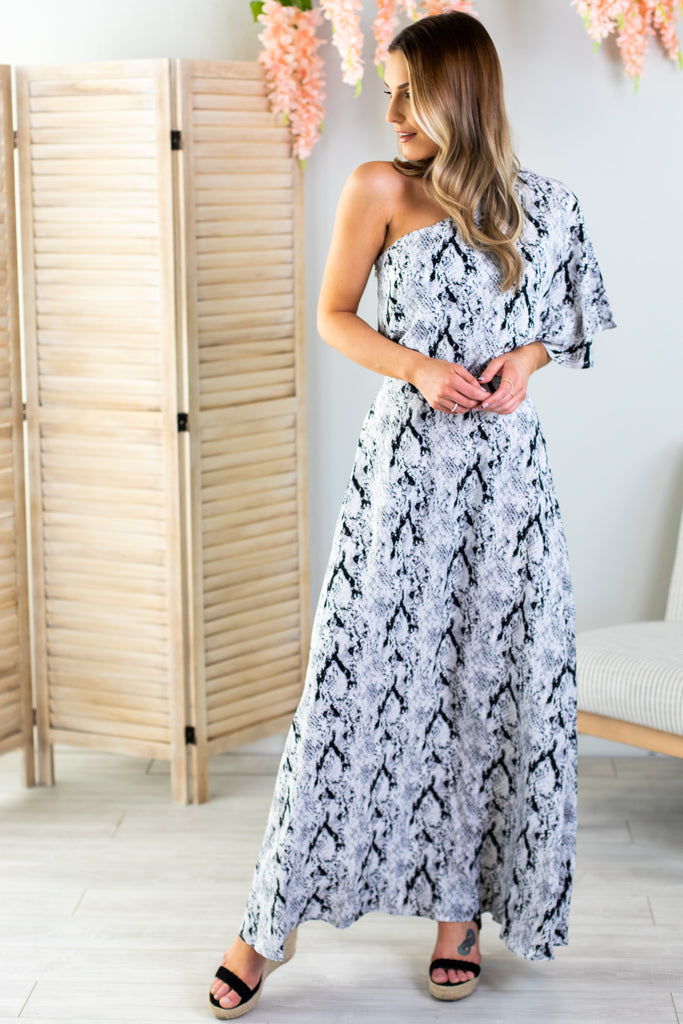 Snake Print One Shoulder Maxi Dress