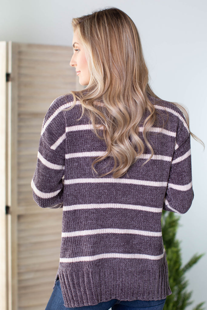 Frosty Striped Chenille Sweater