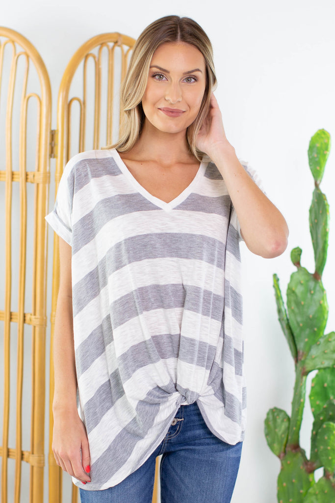 Shoreline Striped Tie Front Top