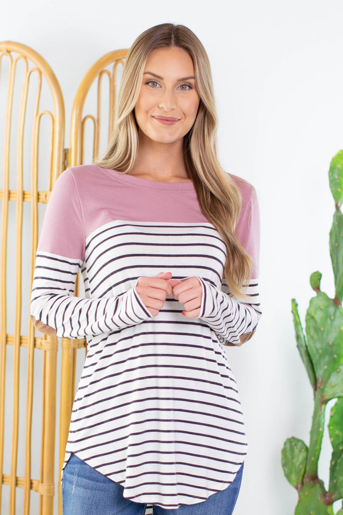 Clara Striped Elbow Patch Top- 3 Colors!
