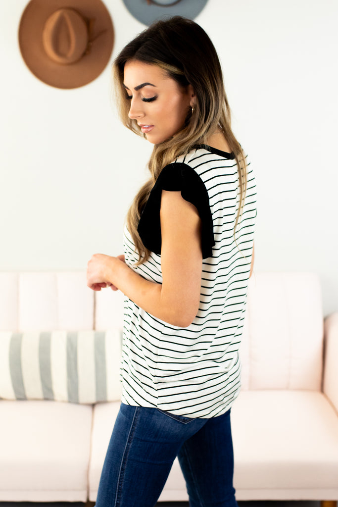 Chapel Striped Ruffle Sleeve Top