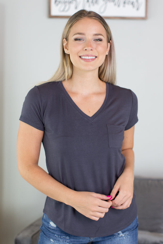 Just Basic V Neck Tee - 3 Colors