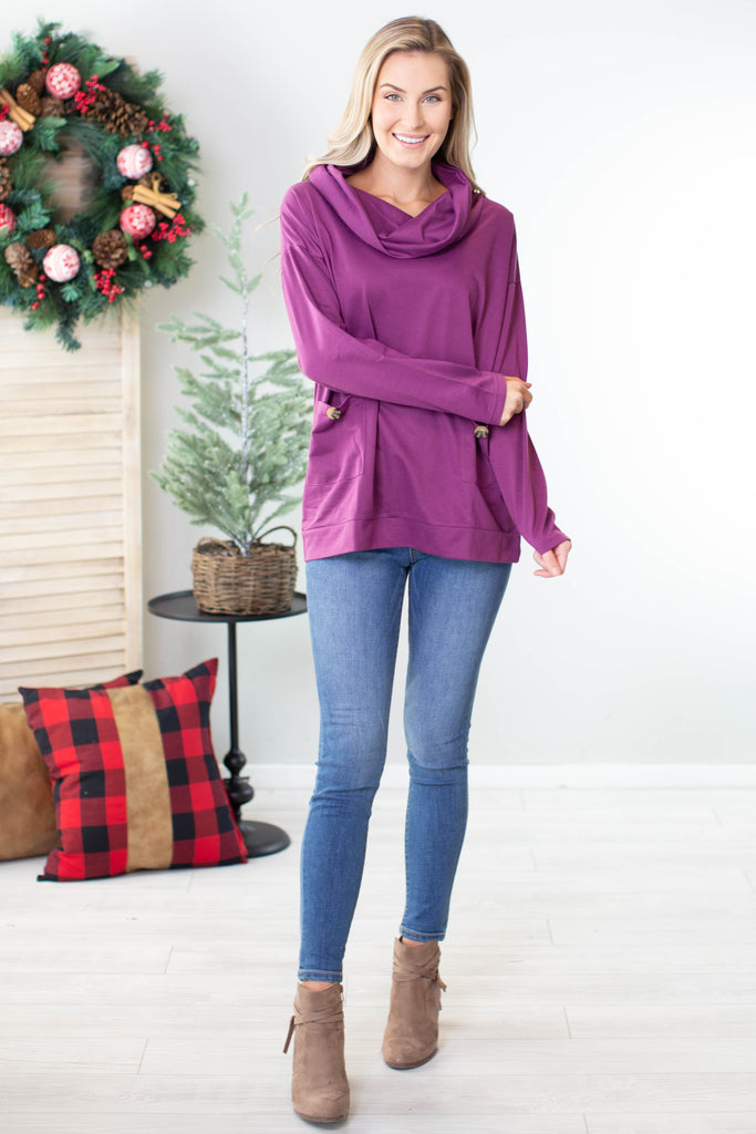Sugar Plum Cowl Neck Tunic Top