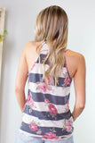 Floral and Stripes Tank
