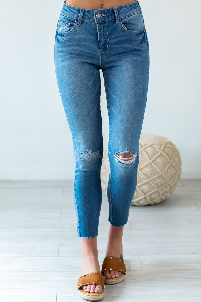Clover Mid-Rise Distressed Ankle Skinny