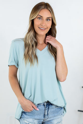 Ashley Ribbed V Neck Tank - 4 Colors