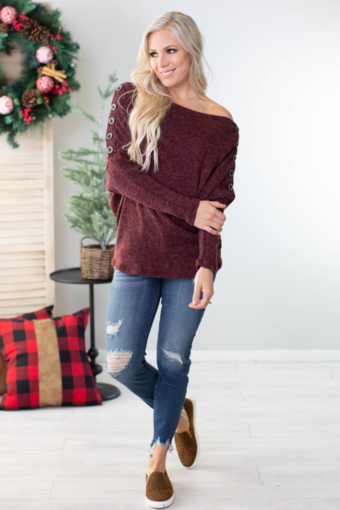 Ginger Snap Button Accent Top