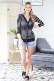 3/4 Sleeve Striped Snap Button Cardigan