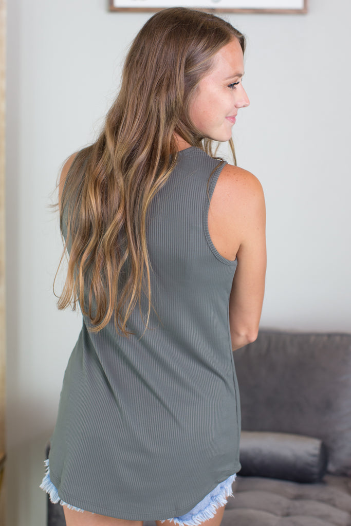 Macey Button Accent Tank
