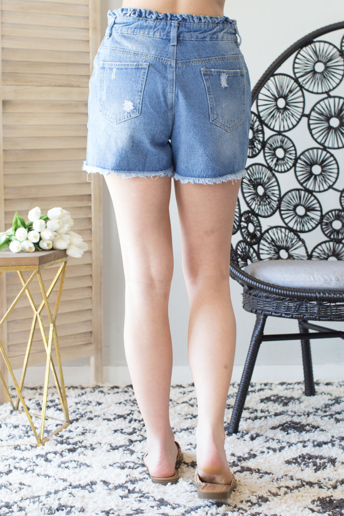Ruffle Waist Denim Shorts - 2 Colors