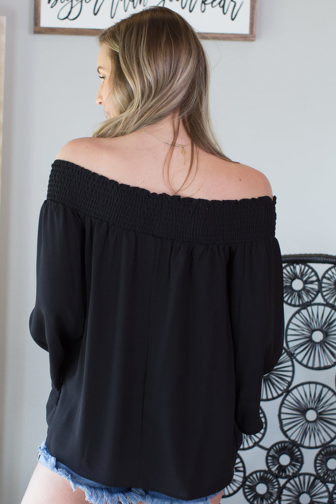 Basic Bell Sleeve Off The Shoulder Top
