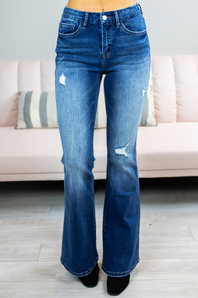Jackie Distressed Flares Vervet By Flying Monkey