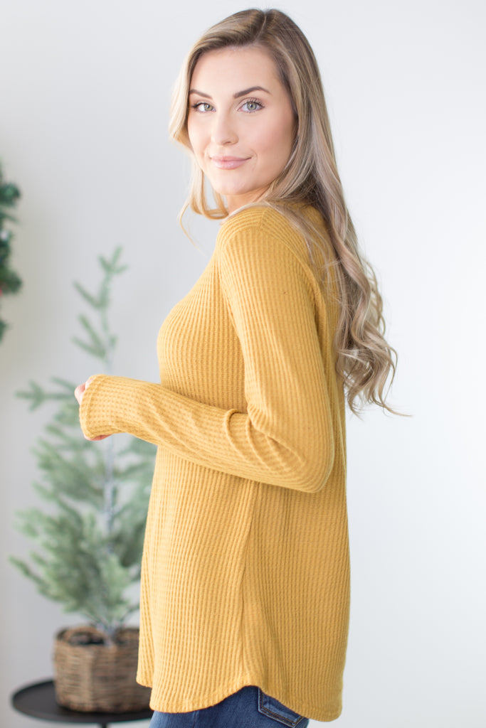 Basic Long Sleeve Waffle Top-4 Colors!!