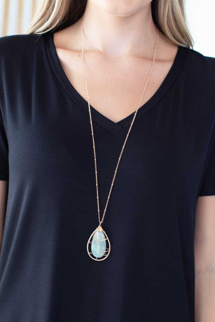 Caged Stone Necklace- 2 colors!
