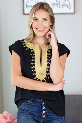 Hailey Crochet Trim Top