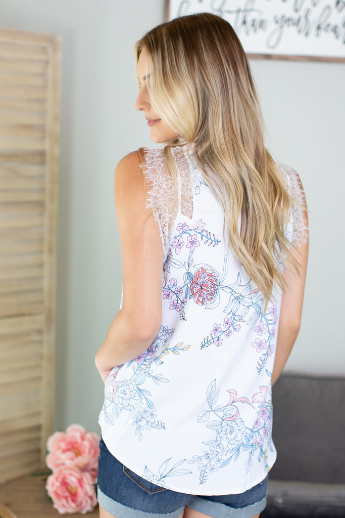 Freesia Floral Lace Contrast Tank