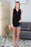 Brittney Ribbed Button Down Tank