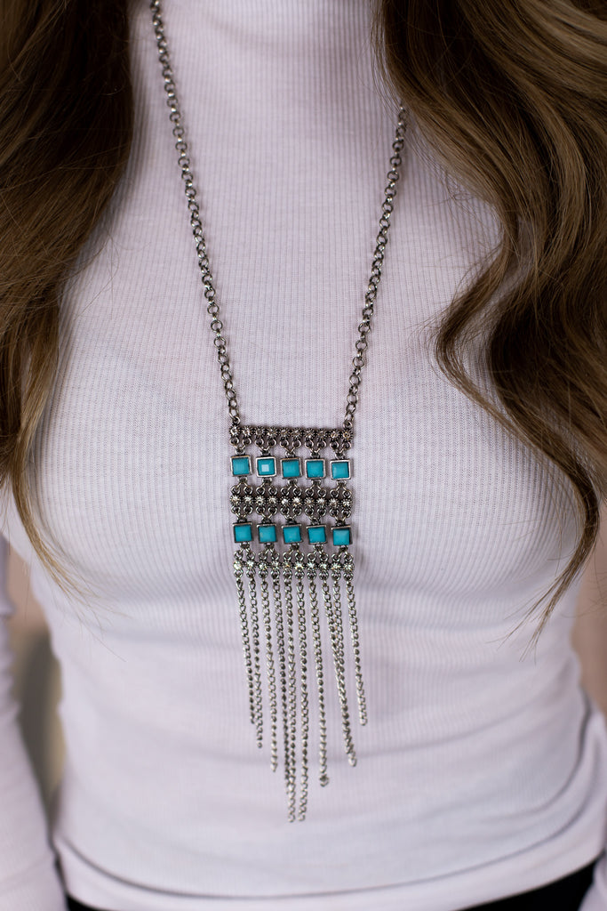 Turquoise Beaded Necklace with Matching Earring