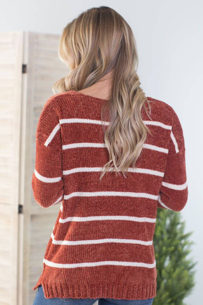 Ginger Striped Chenille Sweater