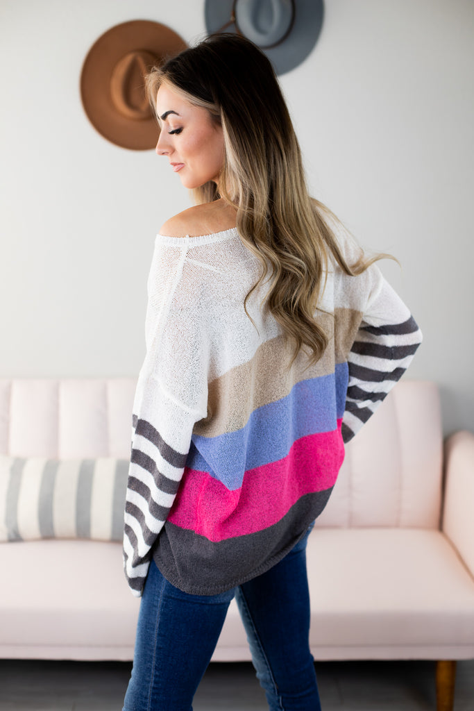 Cassell Striped Cold Shoulder Top