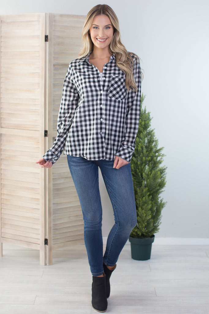 Ann Gingham Button Down Top
