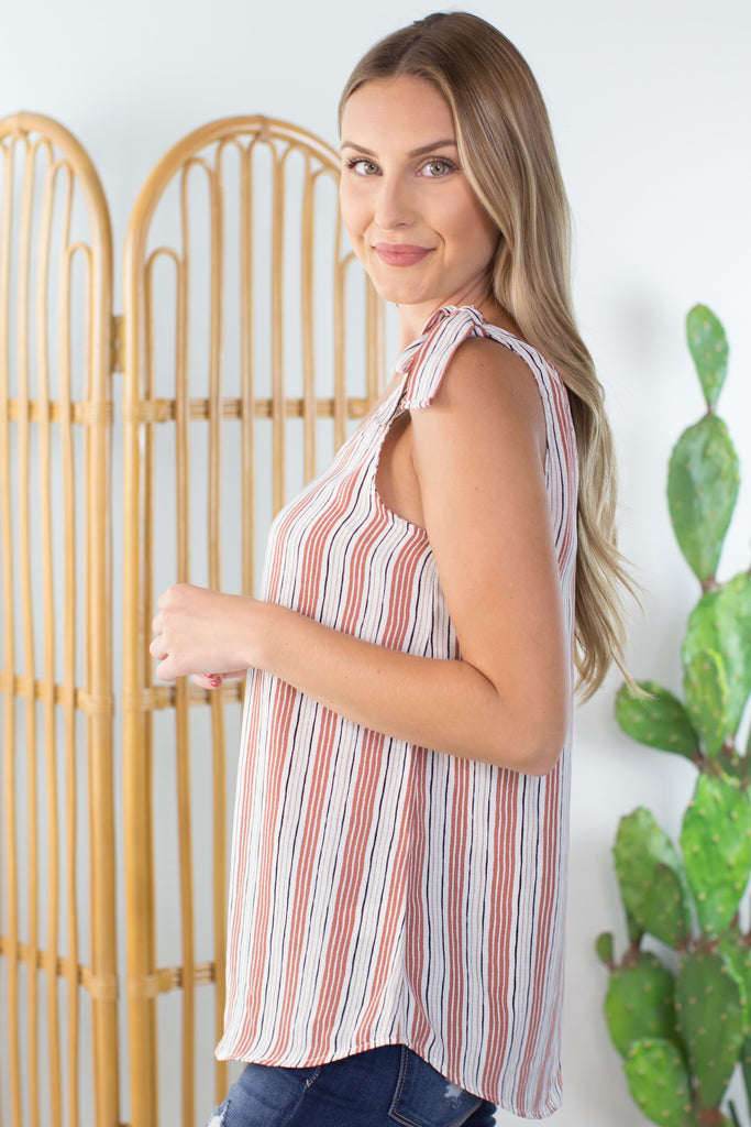 Tie and Stripes Sleeveless Top