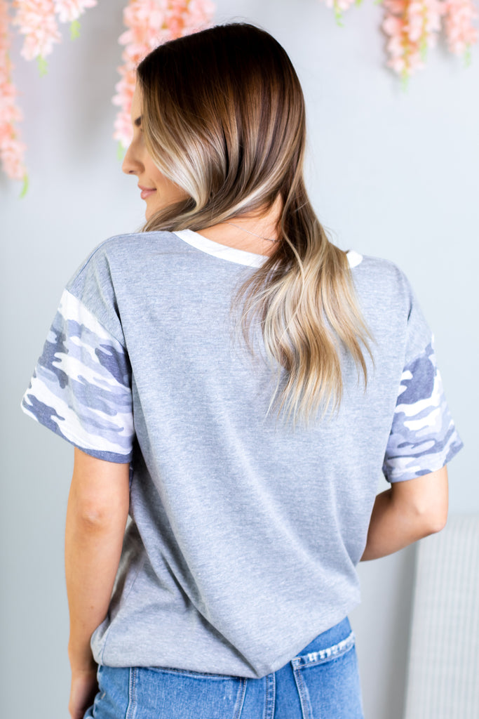 Rebel Camo Colorblock Top