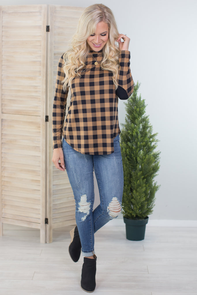 Must Have Plaid Elbow Patch Top