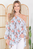 Mason Jar Floral Cold Shoulder Top