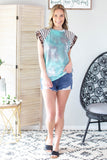 New Day Tie Dye Animal Print Sleeve Top