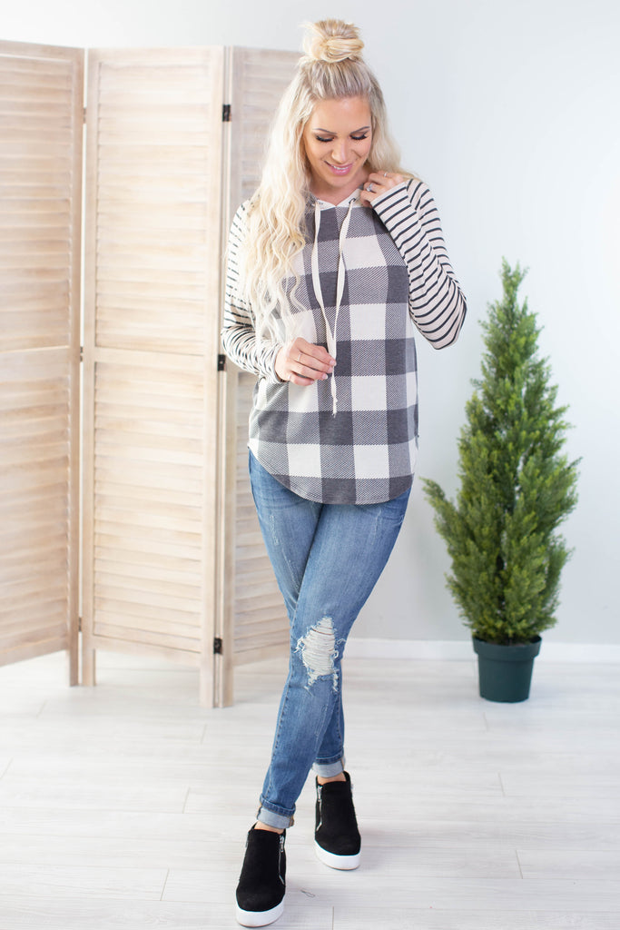 Plaid and Stripes Hoodie-2 Colors!!