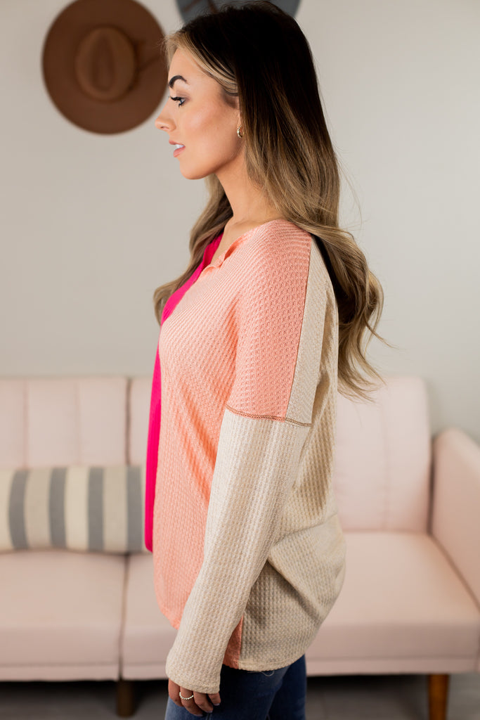 Rouge Colorblock Waffle Top - 2 Colors